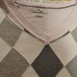 Pink and gray pink sweater w harliquin panel